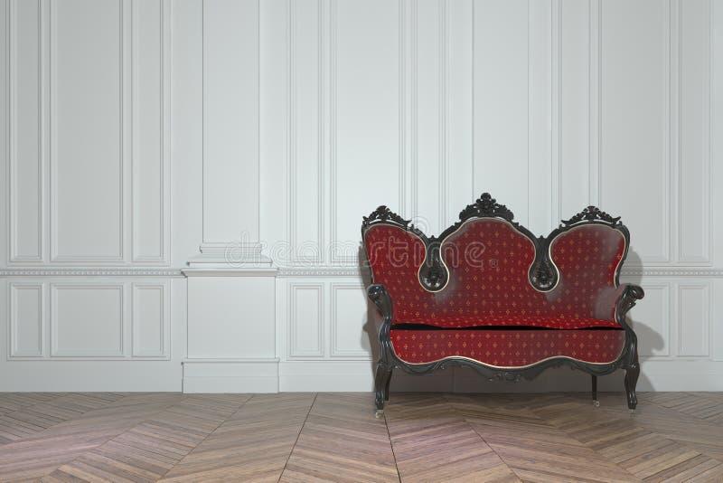 Sofa de vintage dans une salle lambrissée par classique illustration stock