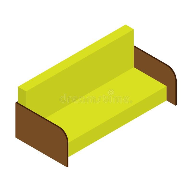 Sofa der Zitronenfarbe Isometrische Vektorillustration, Netz, Dekor, Druck, Anwendung auf wei?em Hintergrund lizenzfreie abbildung