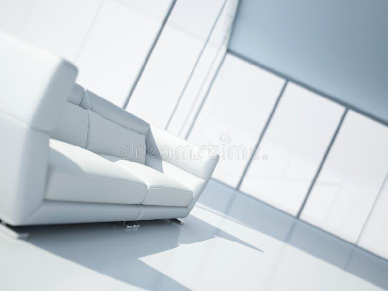 Sofa des weißen Leders stockfoto