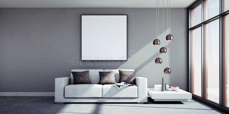 Sofa in einem sonnigen Wohnzimmer mit Bilderrahmen vektor abbildung