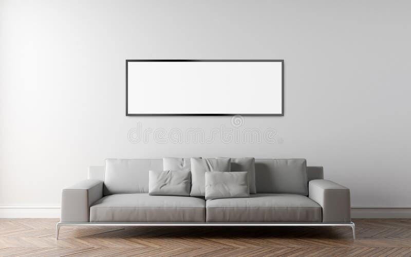 Download Sofa In Empty Room Parquet On The Floor Stock Illustration