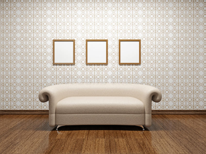 Sofa en cuir beige  illustration de vecteur