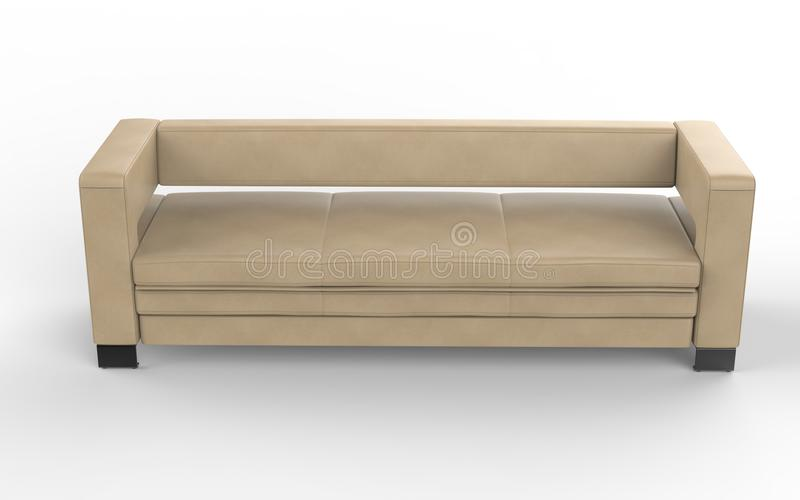 Download Sofa en cuir beige moderne image stock. Image du confortable - 77161143