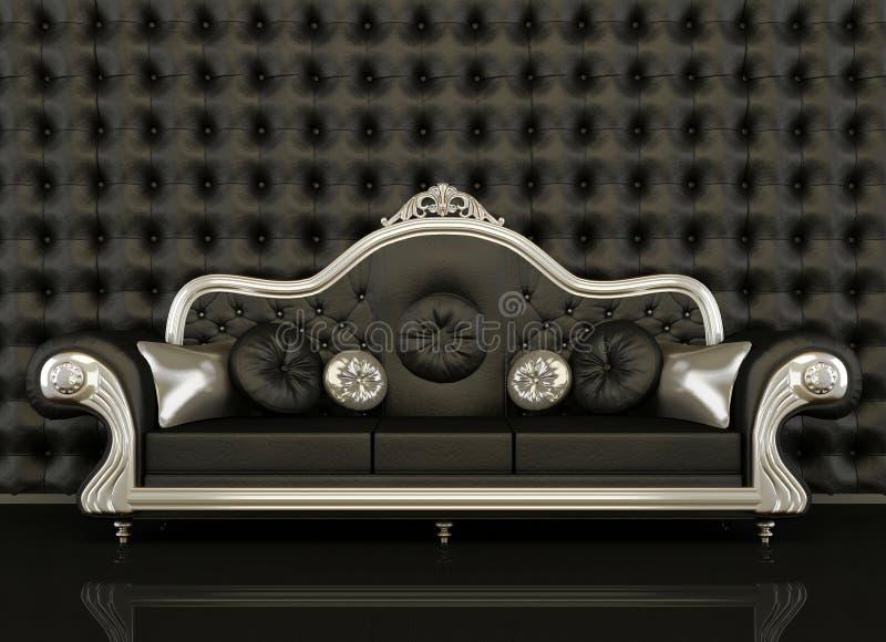 Sofa en cuir classique avec une trame argentée illustration stock