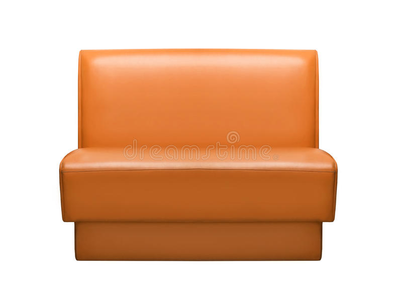 Sofa en cuir de Brown d'isolement sur le fond blanc images stock