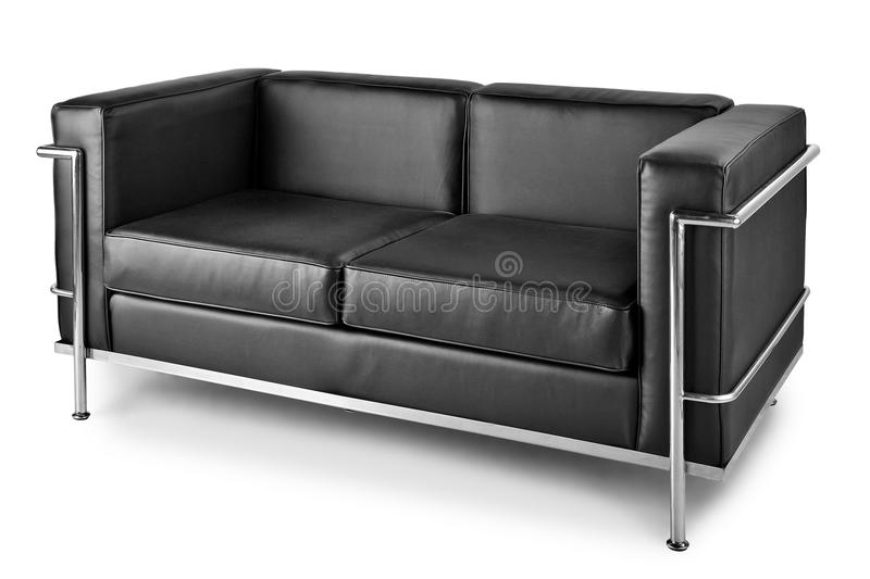 Sofa en cuir noir de faux photo libre de droits