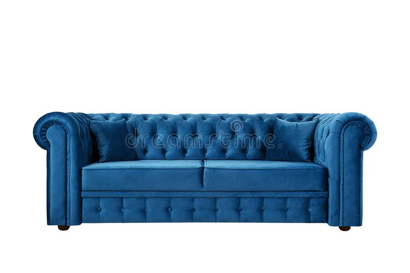 Sofa in English style from blue velor stock photography