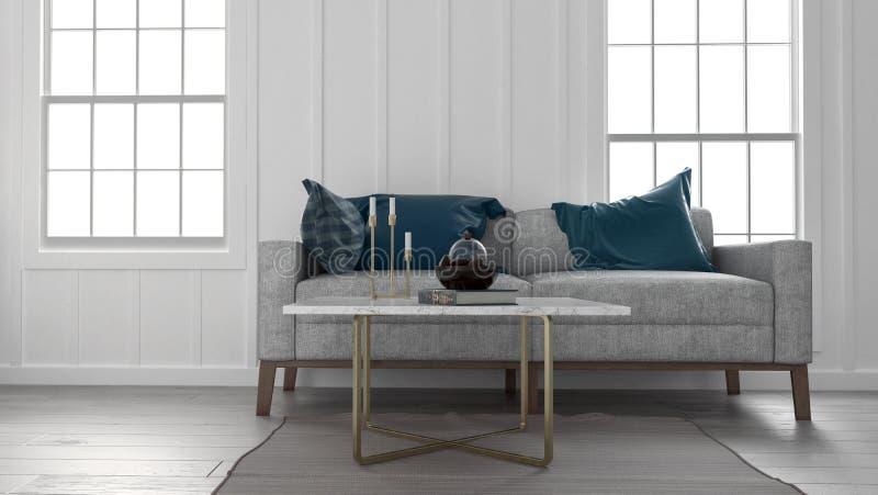 Sofa et table basse en appartement illustration libre de droits