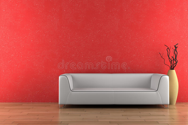 Sofa et vase blancs devant le mur rouge photos stock