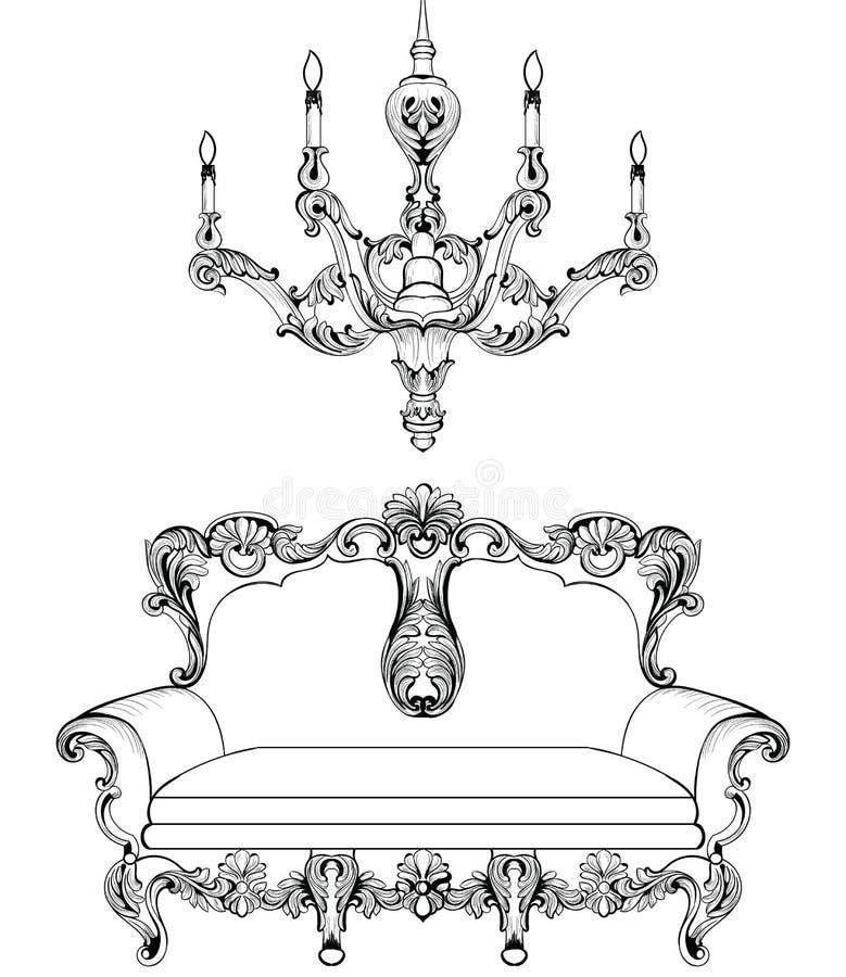 Sofa exquis et lustre baroques impériaux fabuleux gravés Complexe riche de luxe français de vecteur ornementé illustration de vecteur