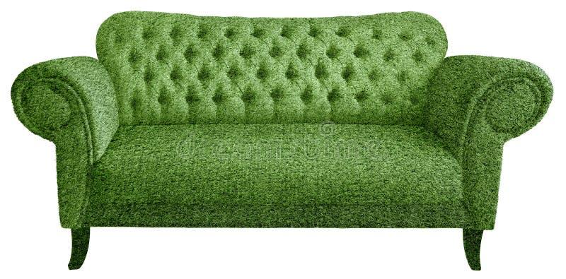 Sofa fait en herbe verte artificielle image stock