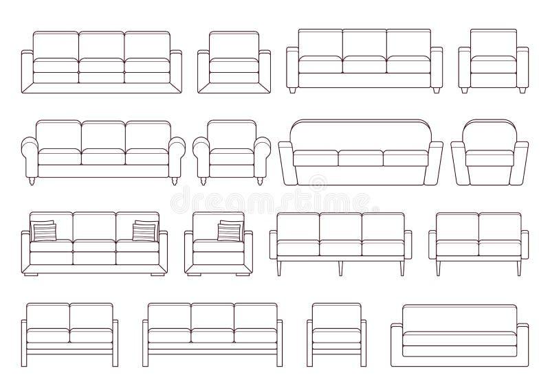 Sofa, fauteuil, ensemble de divan Illustration de vecteur illustration de vecteur