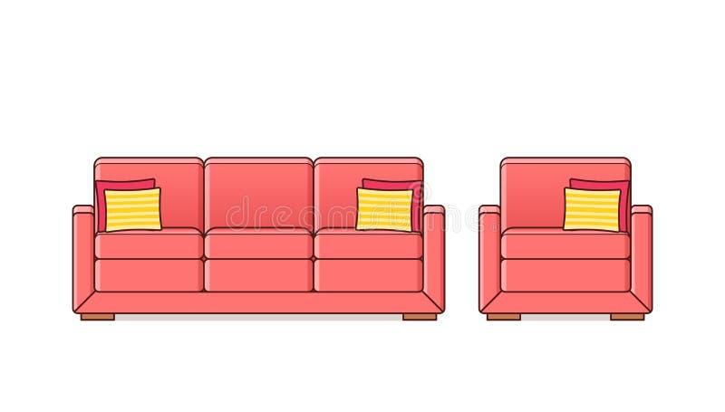 Sofa, fauteuil, icône de divan Illustration d'ensemble de vecteur illustration de vecteur