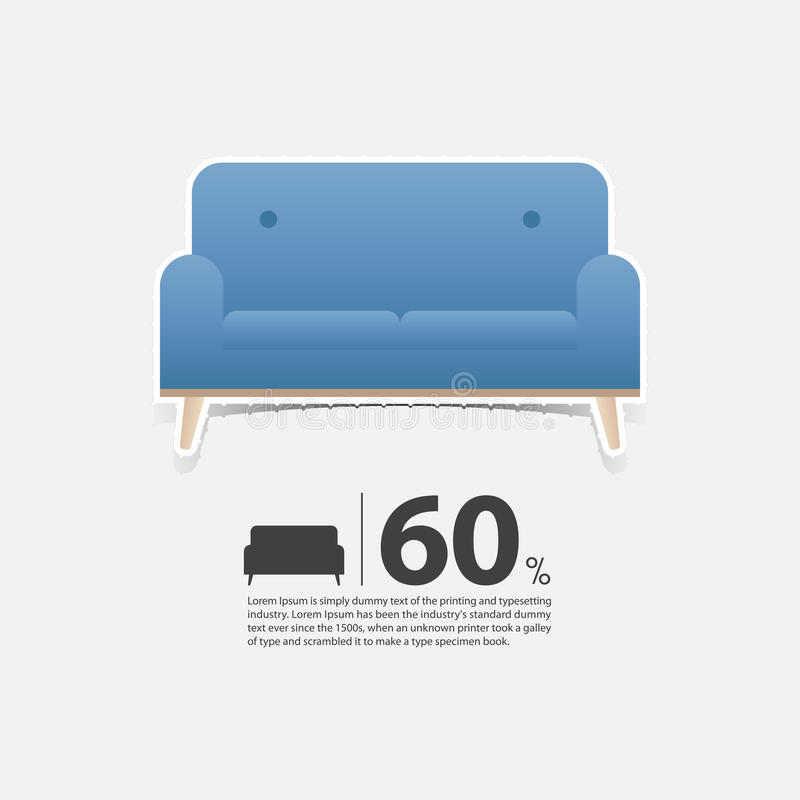 Vector Of Living Room Stock Vector Image Of Sofa: Sofa In Flat Design For Living Room Interior. Minimal