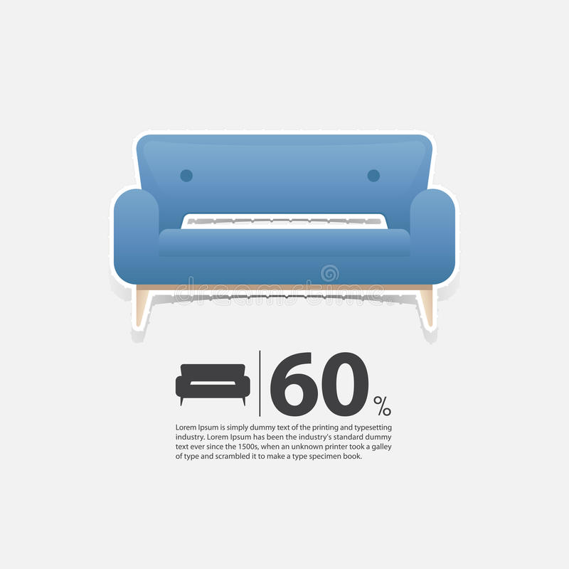Sofa In Flat Design For Living Room Interior Minimal Couch Icon For Furniture Sale Poster Blue Couch On White Background Stock Vector Illustration Of Minimal Poster 89377902