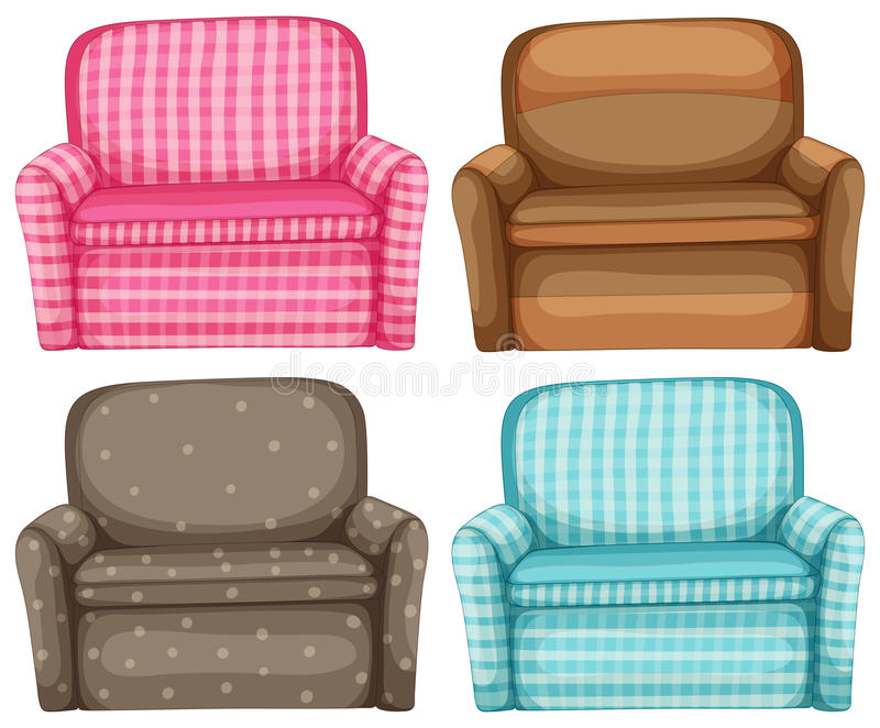 Sofa in four design and colors. Illustration stock illustration