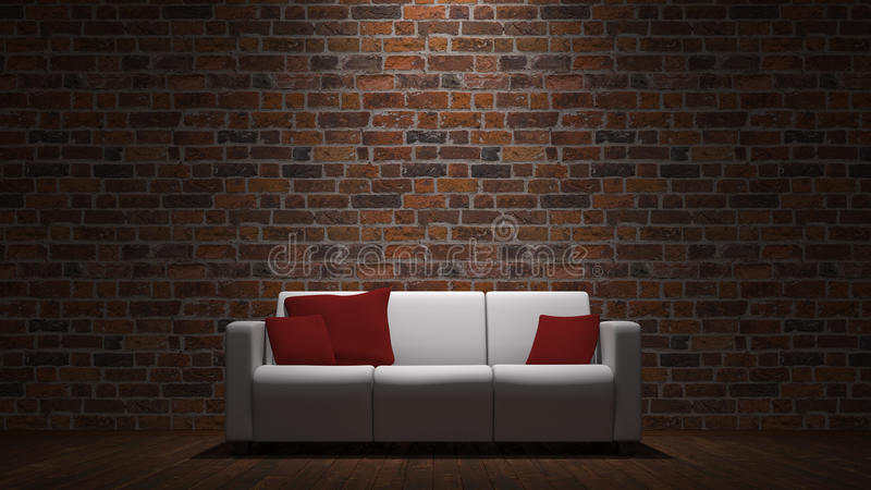 Download Sofa In Front Of Brick Wall Stock Illustration - Illustration of cushions, divan: 25528836