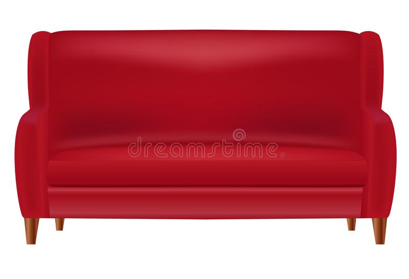 Sofa Front View Isolated rojo realista en el ejemplo blanco del vector del fondo libre illustration