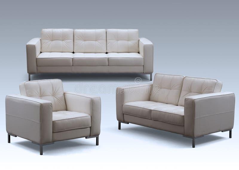 Sofa furniture. The luxury leather sofa set royalty free stock photo