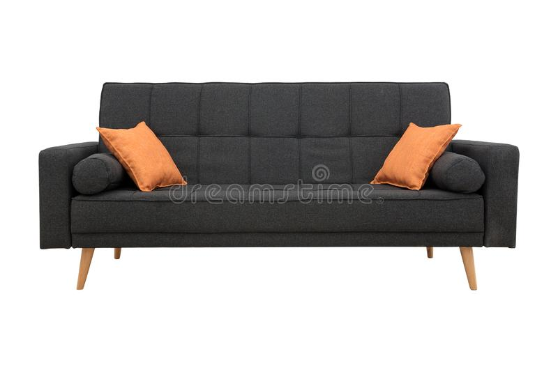 Sofa gray with pillows in Scandinavian style stock photography