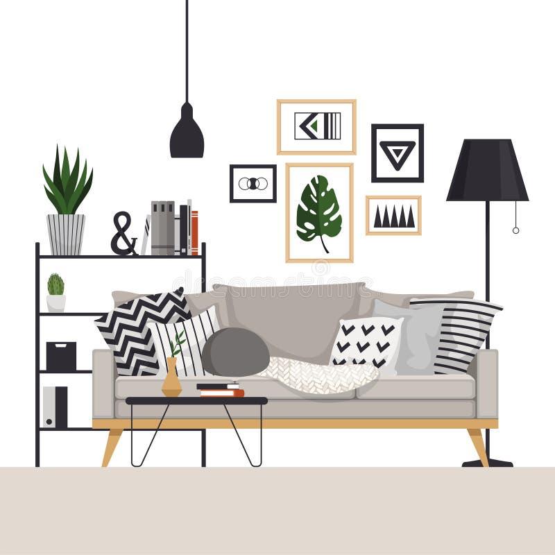 Sofa gris avec une table basse et un support avec un lampadaire dans le style scandinave Avec des photos, des usines et des oreil illustration stock