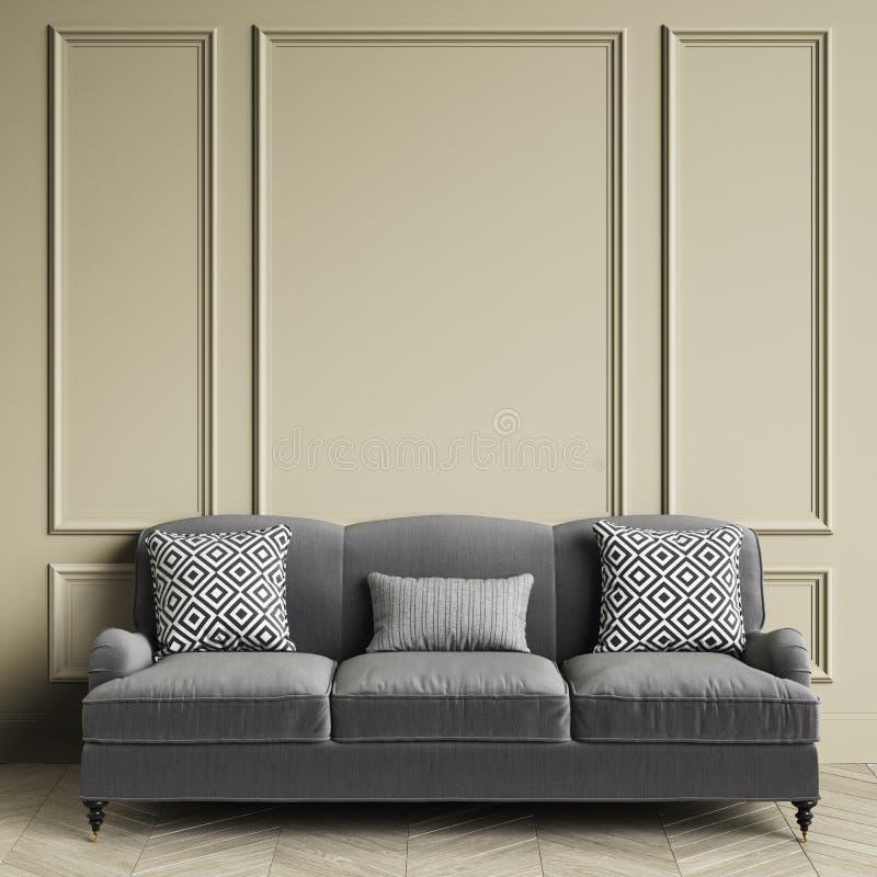 Sofa gris classique, oreillers avec la copie noire et blanche geometic se tenant dans l'intérieur classique illustration de vecteur