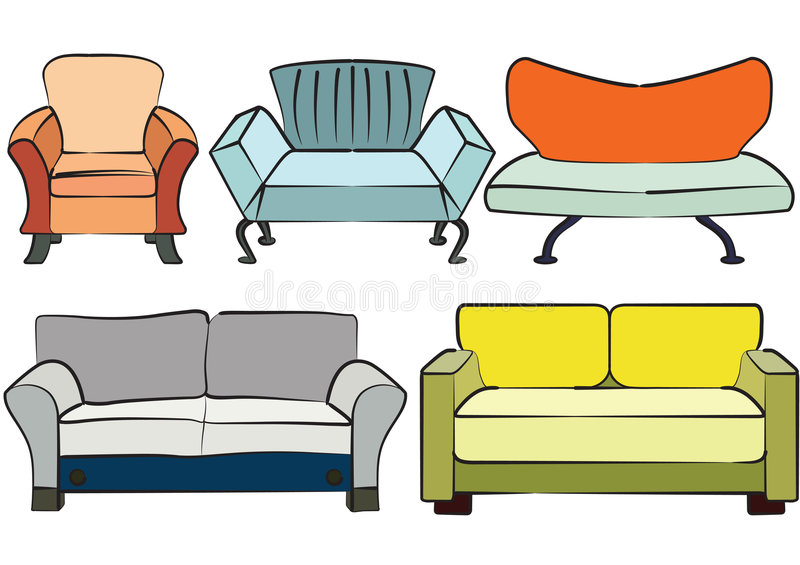 Sofa group objects stock illustration