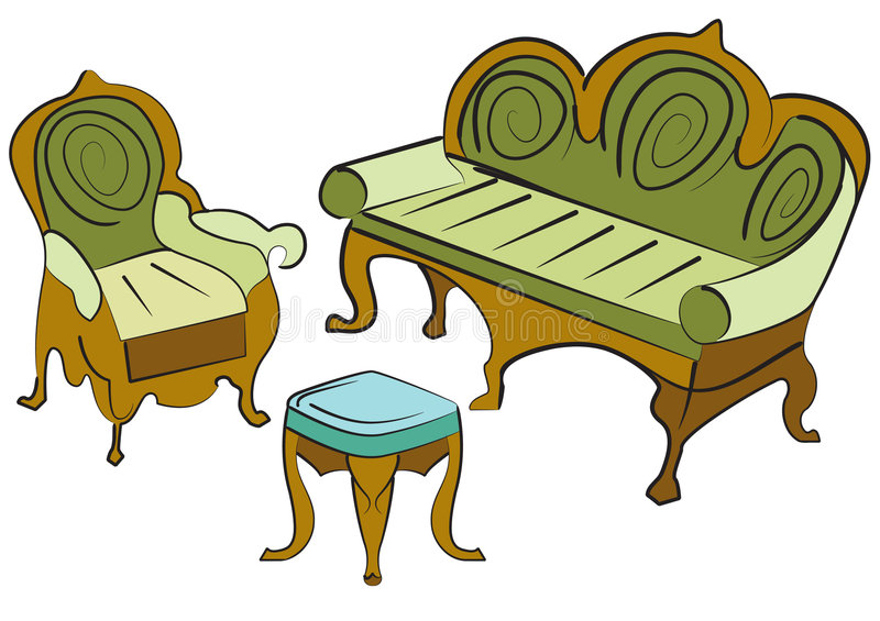 Sofa group objects royalty free illustration