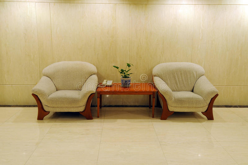 Sofa in the hotel. Two sofa in the hotel stock photography