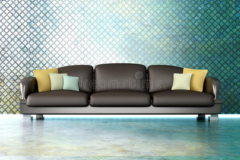 Sofa i en metalllokal royaltyfri illustrationer