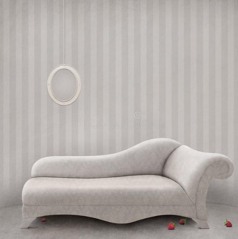 Sofa I En Vit Lokal. Royaltyfri Foto