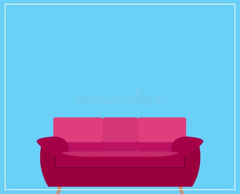 Sofa Icon rosa su fondo blu Illustrazione di vettore illustrazione di stock