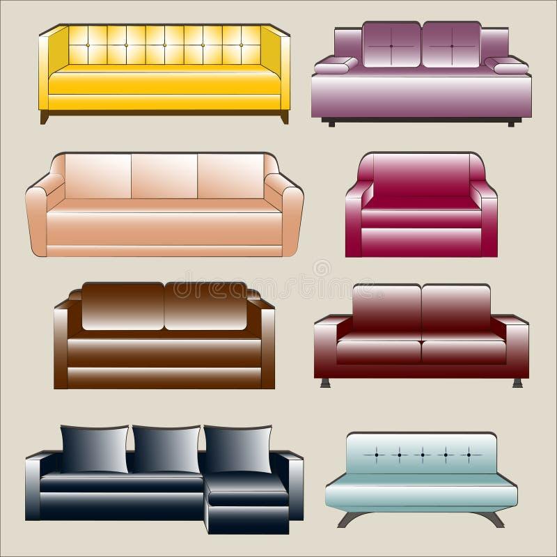 Sofa Icon Set royaltyfri illustrationer