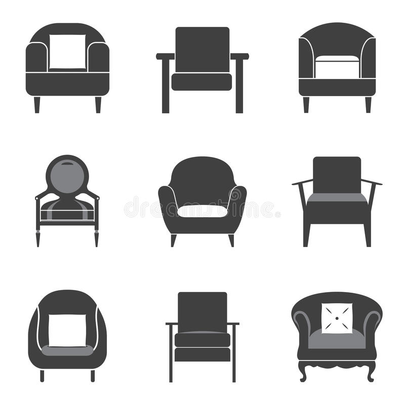 Sofa Icon Set stock de ilustración