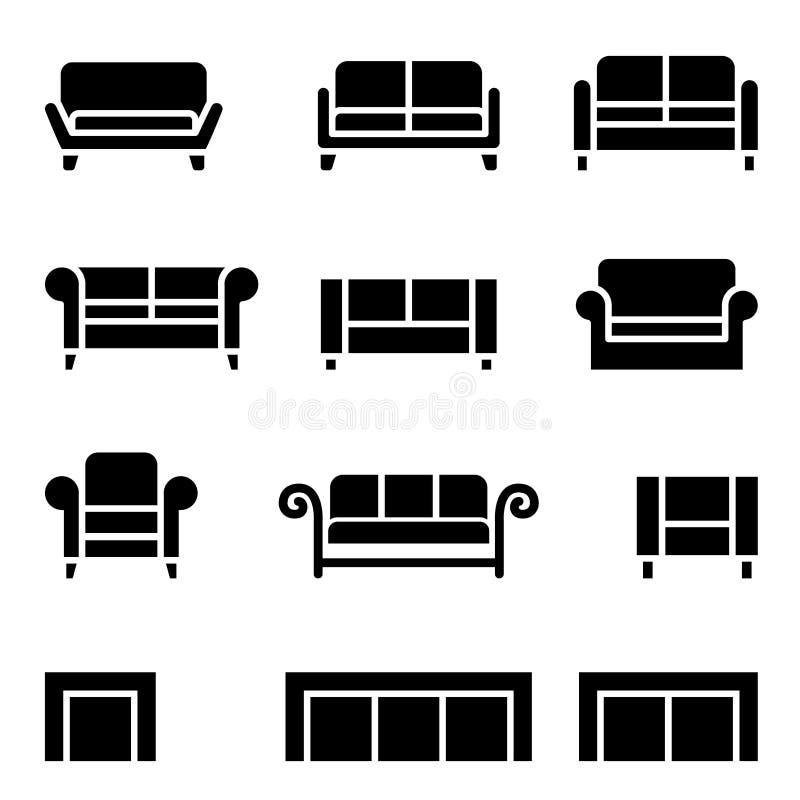 Sofa Icon Set ilustración del vector