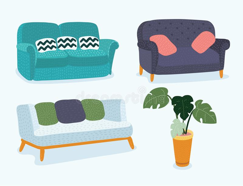 Sofa Icon Set Vector Illustration illustration libre de droits