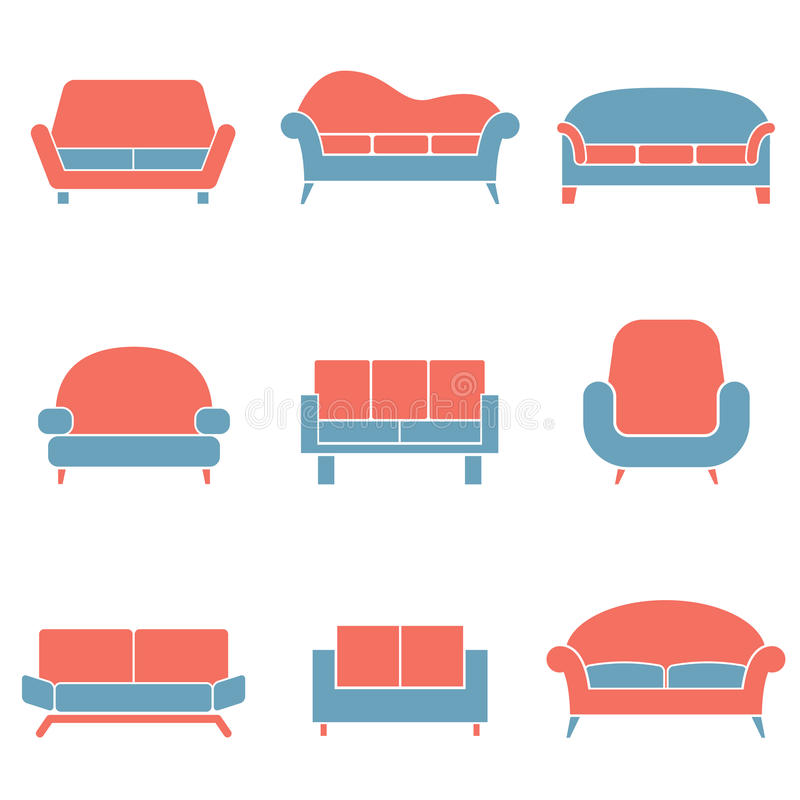 Sofa Icons Duotone stock illustration