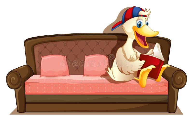 Sofa. Illustration of a duck sitting on a sofa vector illustration