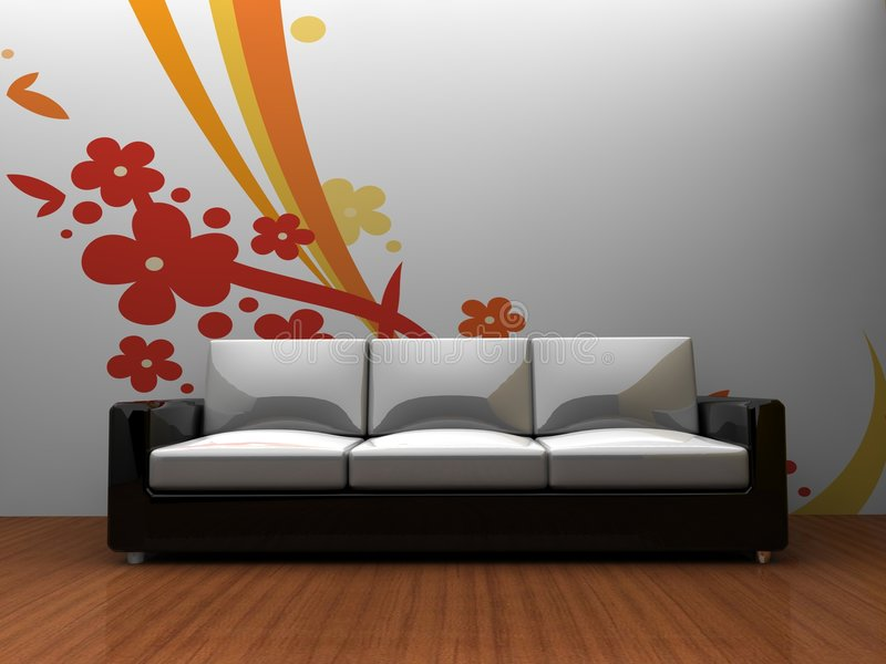Download Sofa Indoors With A Pattern On The Wall Stock Illustration - Image: 9193142
