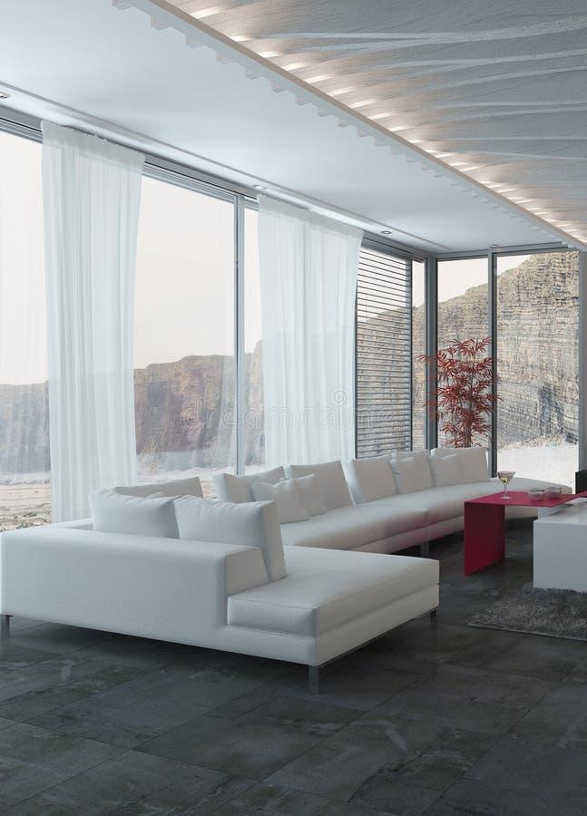 Sofa Inside bianco elegante un salone illustrazione di stock