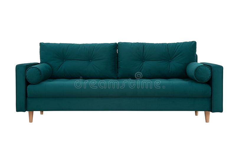 Sofa green with pillows in Scandinavian style stock photography