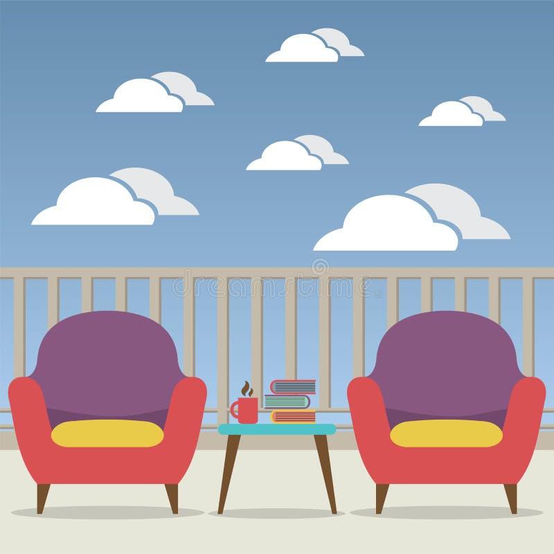 Sofa Interior Set At Balcony vazio ilustração royalty free