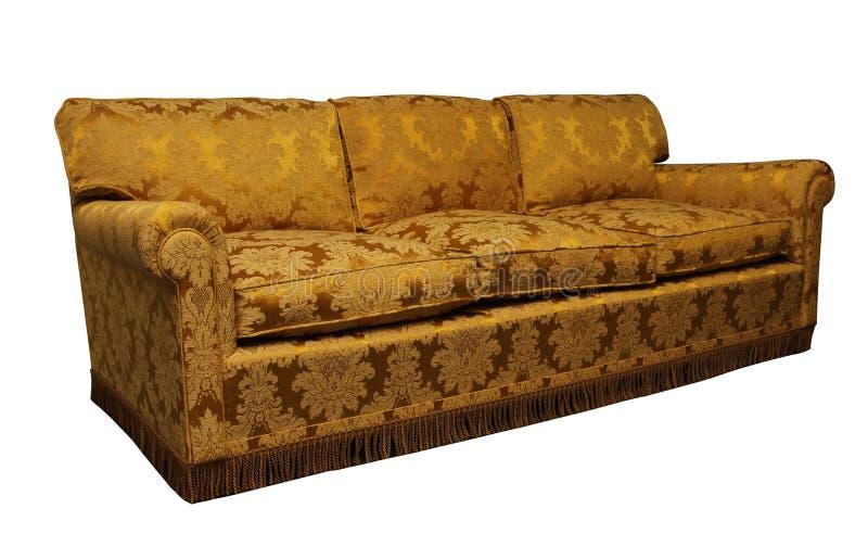 Sofa jaune antique sur le fond blanc photo stock