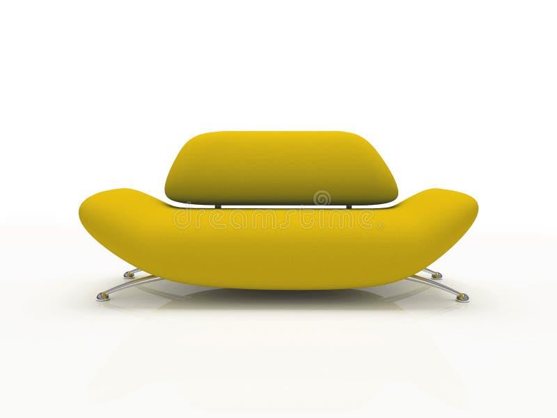 Sofa jaune sur le fond blanc isolé illustration libre de droits