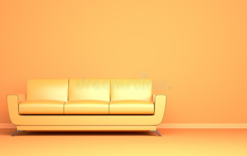 Sofa jaune sur le fond jaune photos stock