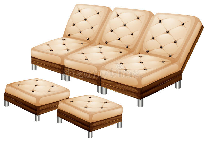 Sofa with leg stool. Illustration royalty free illustration