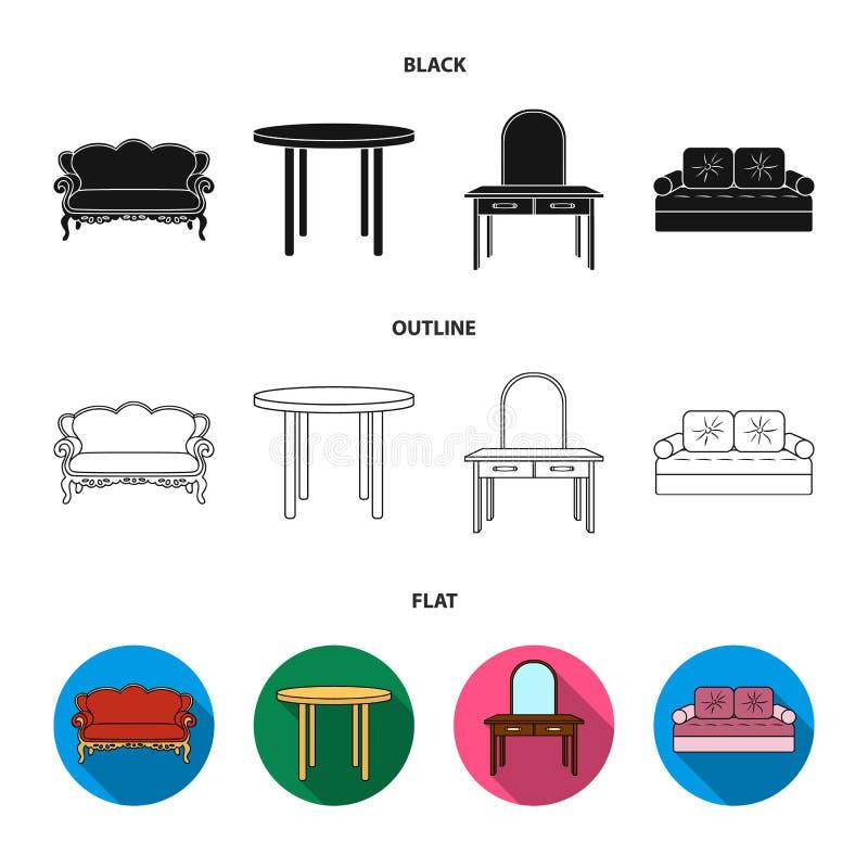 Sofa, Lehnsessel, Tabelle, Spiegel Möbel und Haupt-interiorset Sammlungsikonen in Schwarzem, flach, Entwurfsart-Vektorsymbol stock abbildung