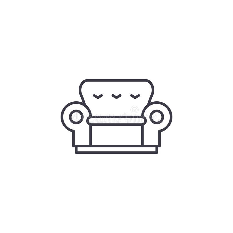 Sofa linear icon concept. Sofa line vector sign, symbol, illustration. royalty free illustration
