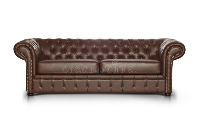 Sofa luxueux en cuir de Brown image libre de droits