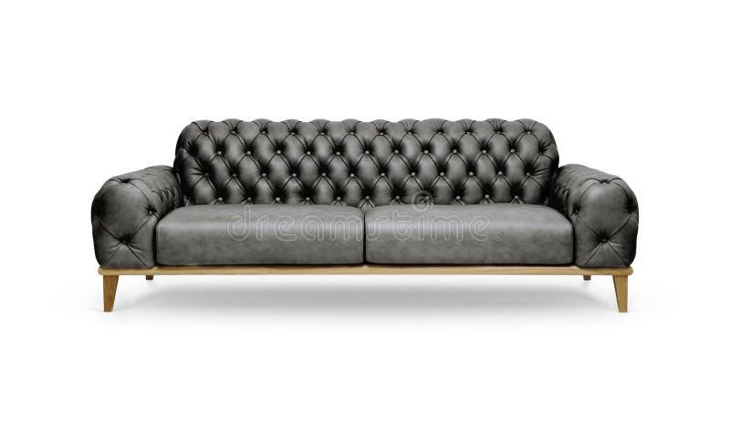 Sofa luxueux en cuir noir photo libre de droits